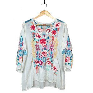 Johnny Was Emmaline Embroidered Floral Blouse